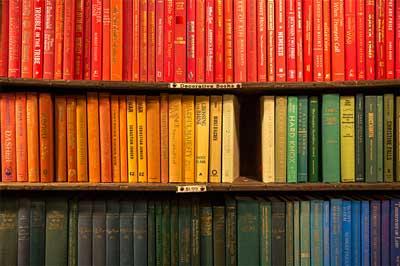 coloured bookshelf